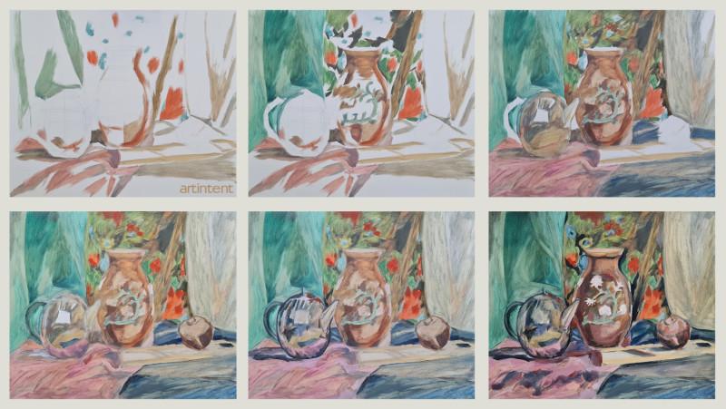 Артинтент —  натюрморт поэтапная живопись маслом
