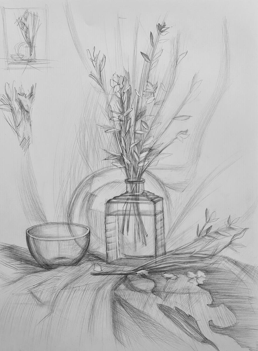 Артинтент — рисунок карандашом, натюрморт