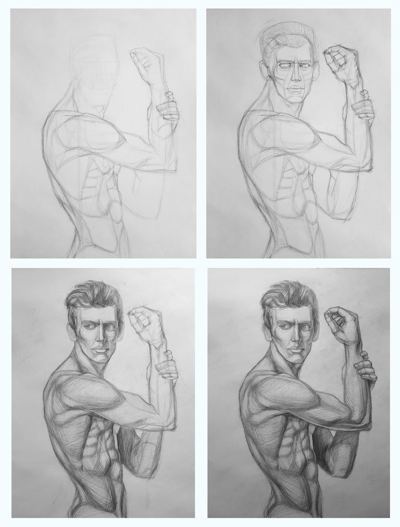 Рисование обнаженной натуры  в мастерской на Бутлерова поэтапно