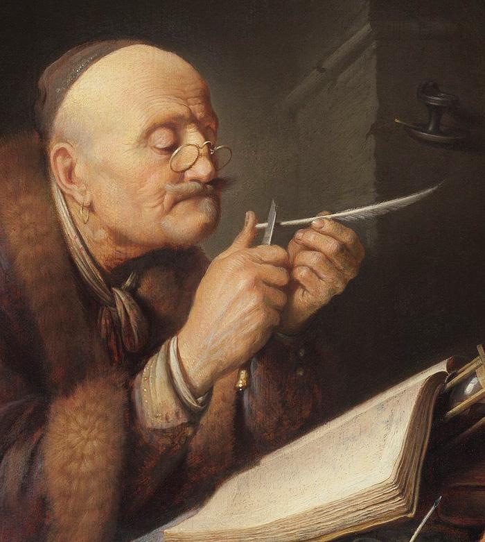 Герард Доу. Учёный, затачивающий перо.