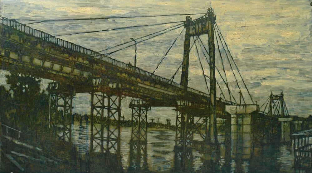 Андрей Жуков. Мост. 85х48 см. Ржавление, смешанная техника на металле. 2016.