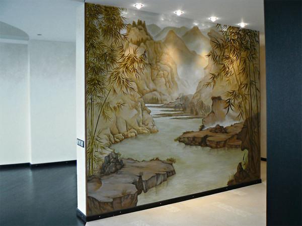 Роспись стены в японском стиле