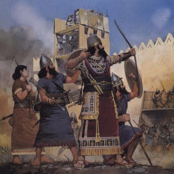 Ассирийские лучники обстреливают стены