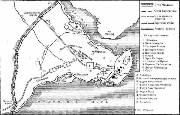 Карта Константинополя VII века