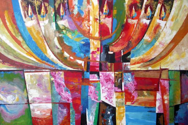 MENORA Acrylic on Canvas - Size 48X28
