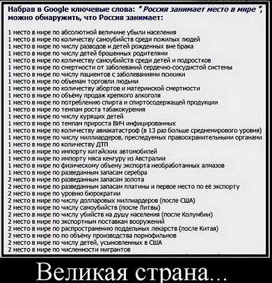 Россия занимает первое место по...