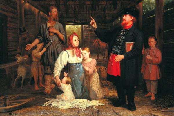 Сбор недоимок. Александр Красносельский. «Сбор недоимок», 1869 год