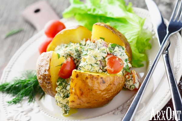 cottage cheese stuffed baked potato