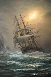 корабль в бурю 90х60см.х.м. 2010г.