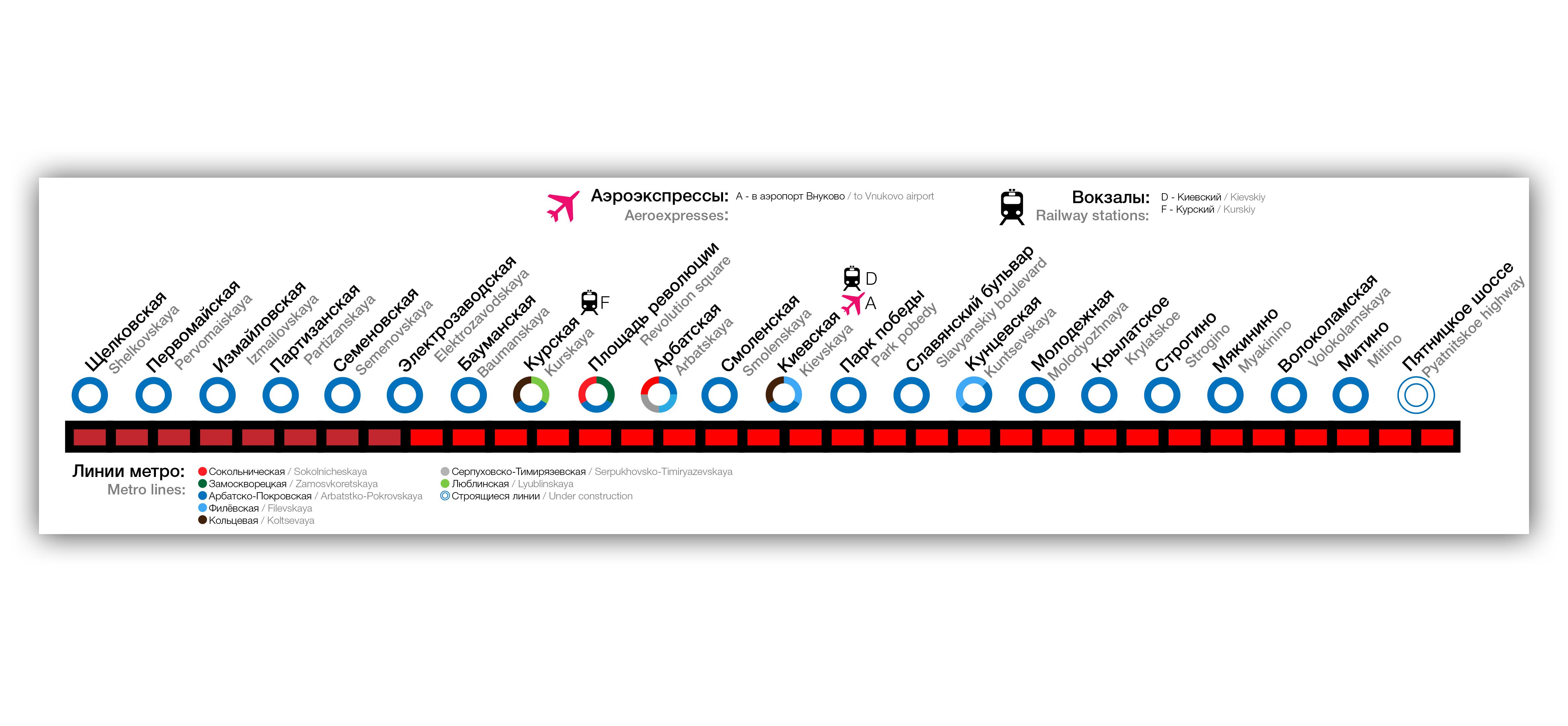 Арбатско-покровская линия метро схема