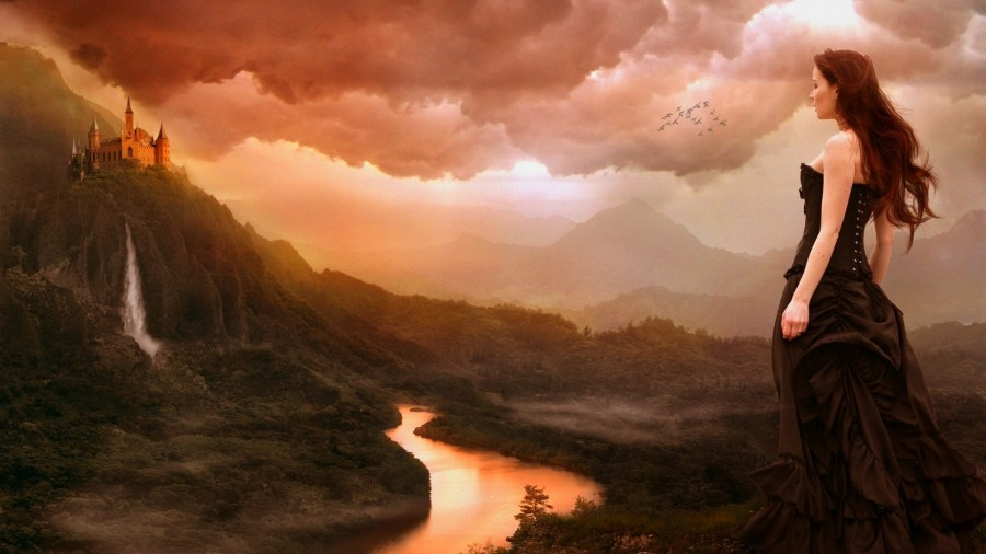 1920x1080_pejzazh-devushka-vodopad-reka-zamok-oblaka-goryi-ptitsyi