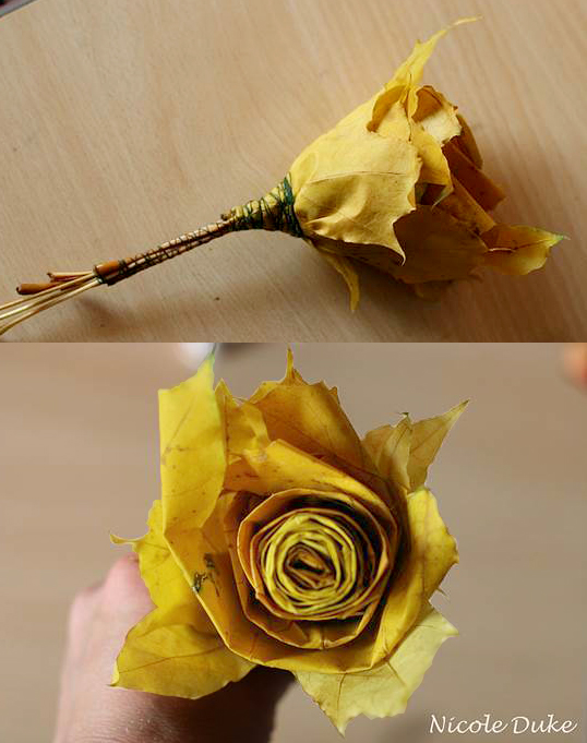 diy beautiful roses from autumn leaves