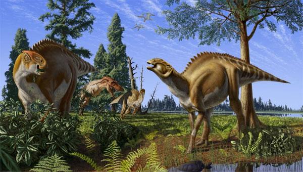 tyrannosaurus_&_brachylophosaurus_600