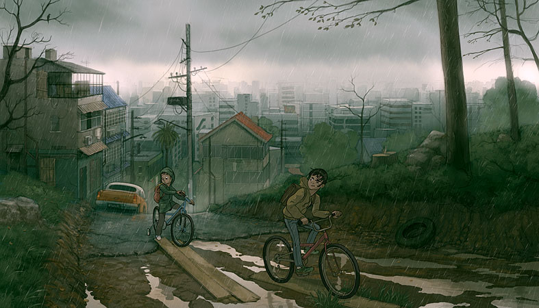 787x450_400_Like_summer_2d_adventure_children_city_bicycles_rainy_picture_image_digital_art