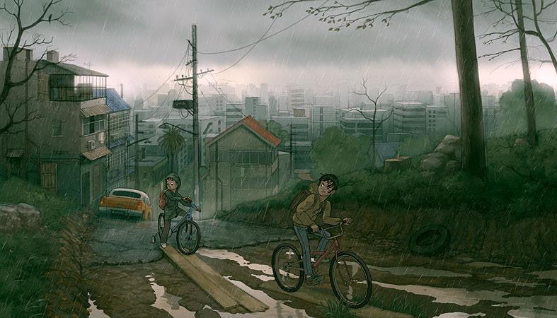 787x450_400_Like_summer_2d_adventure_children_city_bicycles_rainy_picture_image_digital_art