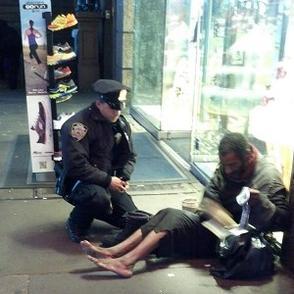 policeman and beggar