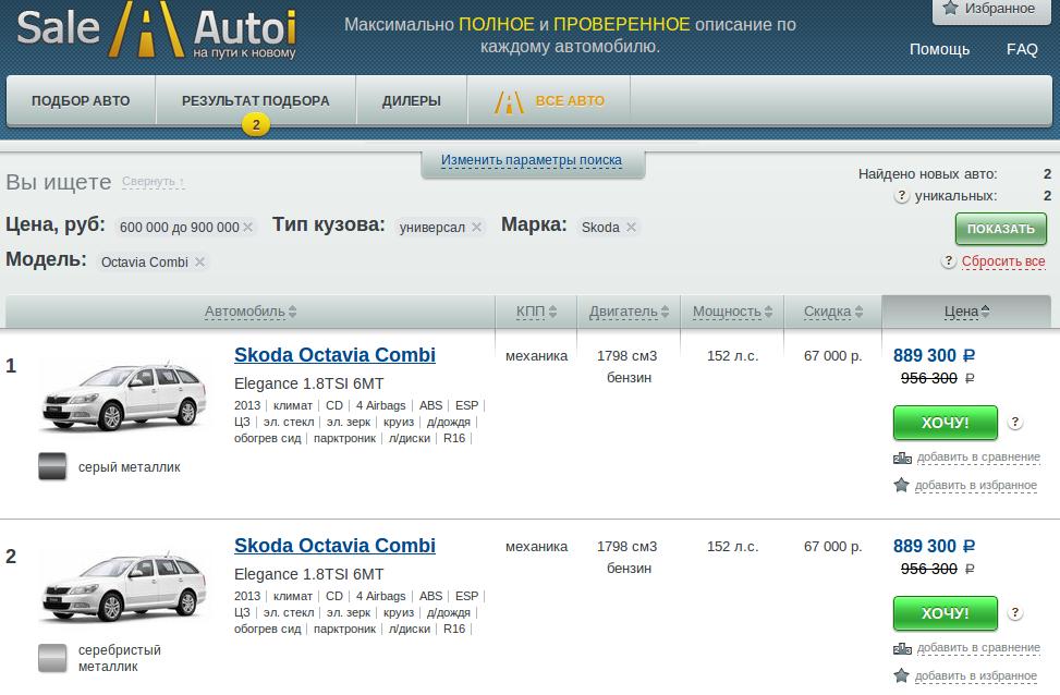 sale.autoi.ru Результаты поиска автомобилей со скидкой у дилеров