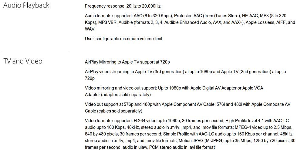 Apple iPhone 4S: Технические характеристики: Аудио, видео, ТВ