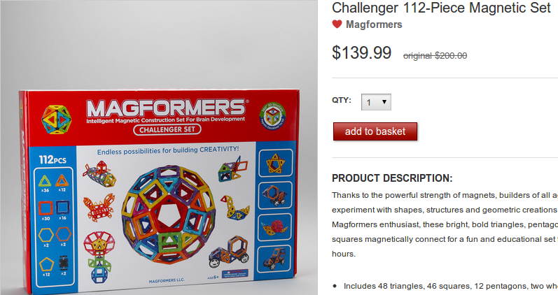 Magfomers Challenger 112 Piece Magnetic Set на Zulily