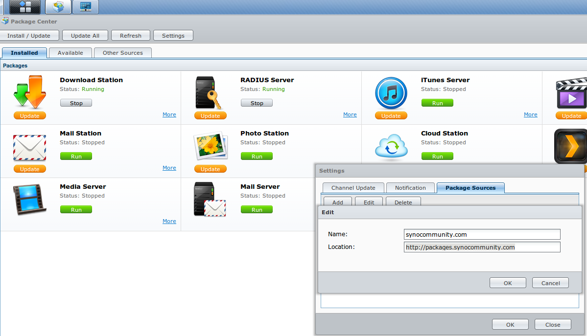 Synology DiskStation: Package Center: Package Sources: packages.synocommunity.com