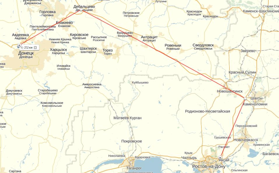 Яндекс.Карты: Ростов-на-Дону - Донецк (Украина)