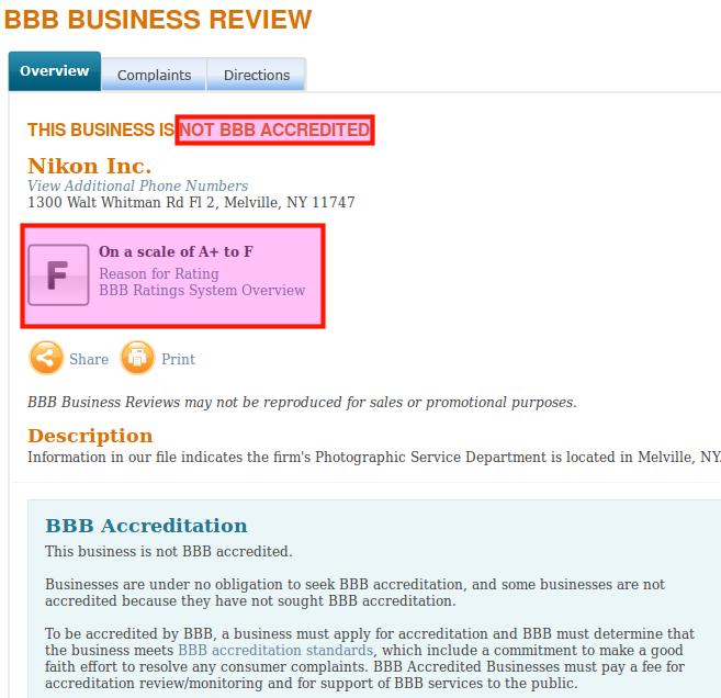 BBB: низший рейтинг Nikon