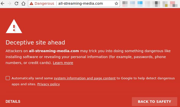 all-streaming-media.com (belonging to Applian): Deceptive site ahead