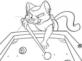 Atkelar, playing pool as drawn by Rose