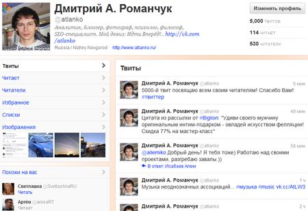 Твиттер. Дмитрий Романчук - Atlanko