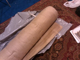 Roll a' burlap. Hundreds of feet, actually.