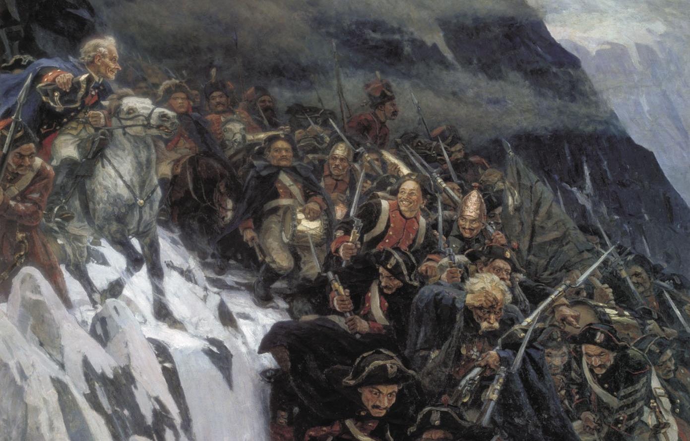 Василий СУРИКОВ (1848-1916). Переход Суворова через Альпы в 1799 году. 1899