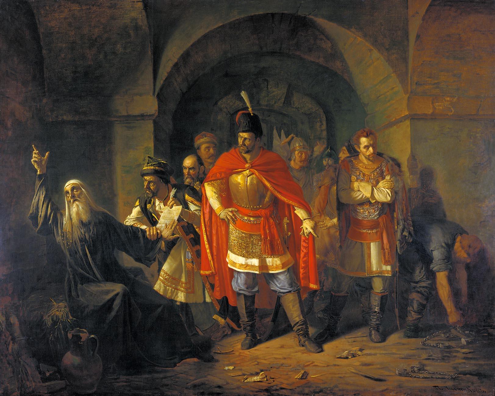 Павел ЧИСТЯКОВ (1832-1919). Патриарх Гермоген отказывает полякам подписать грамоту. 1860, холст, мчистяков