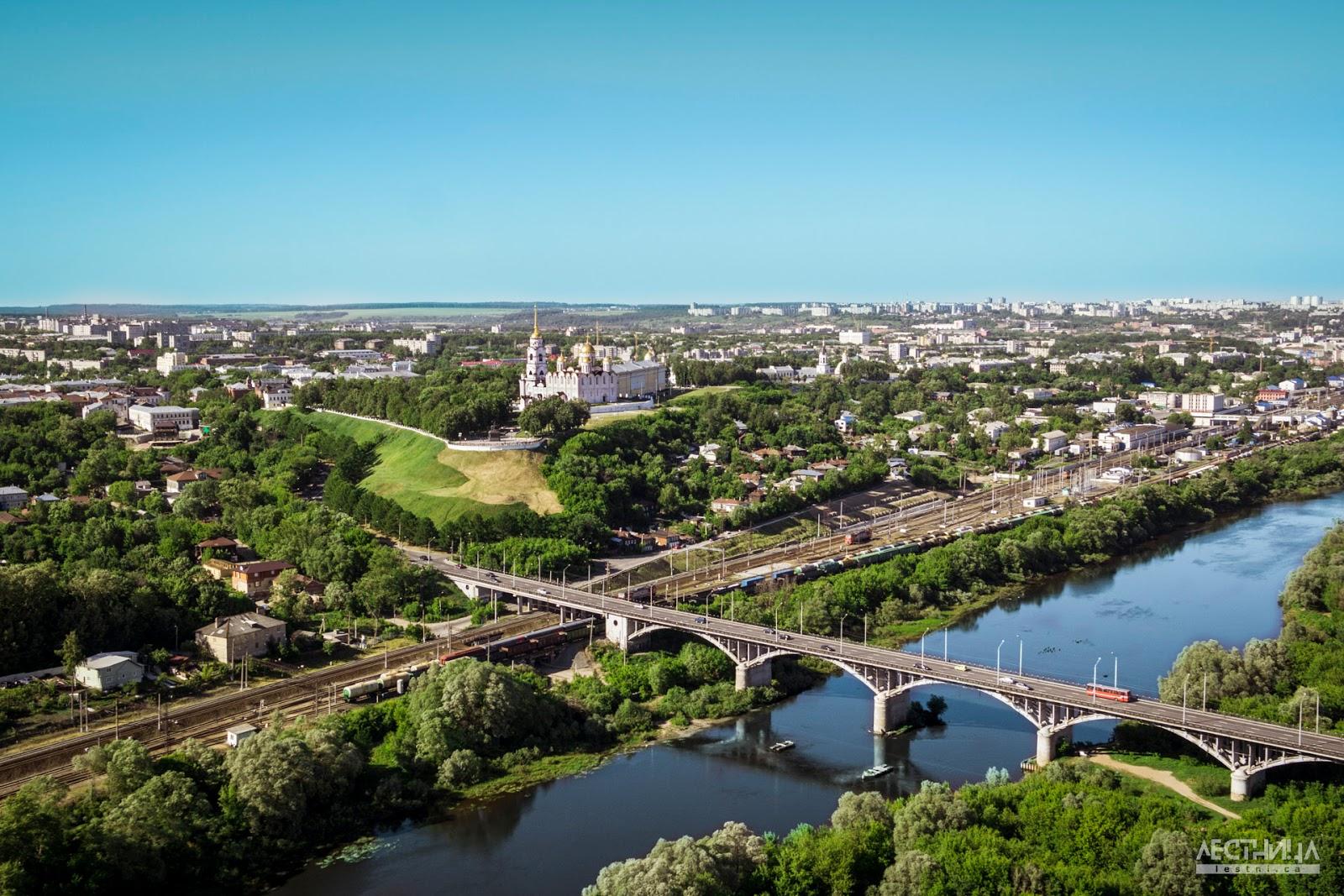 Город-Владимир-с-высоты-птичьего-полета.-Мост-через-Клязьму