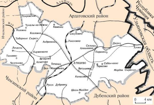 Карта Атяшевского района с сайта: http://www.gidrm.ru/doc_2930.html