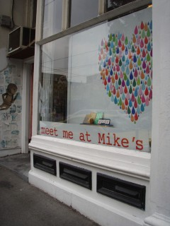 """Window at Meet Me at Mike""""s."""