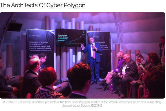 BIZONE is a Russian cyber security company owned by Sberbank, the largest and state-owned bank in Russia. NOTE THE  RUSSIAN FIRM BIZONE WILL PLAY A CENTRAL ROLE IN CYBER POLYGON 2021.