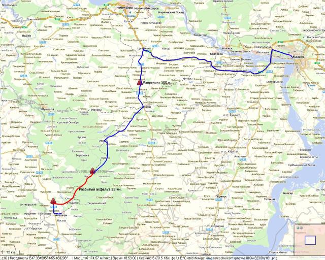 Карта-схема маршрута Казань-
