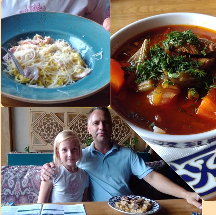 Карбонара, лагман (суп) и плов