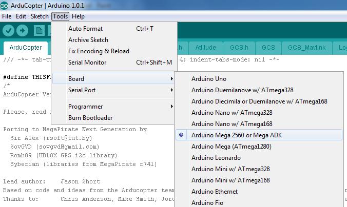 arduino ide board select Crius AIO Pro