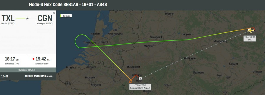 A343  16+01 Konrad Adenauer from TXL diverted to CGN