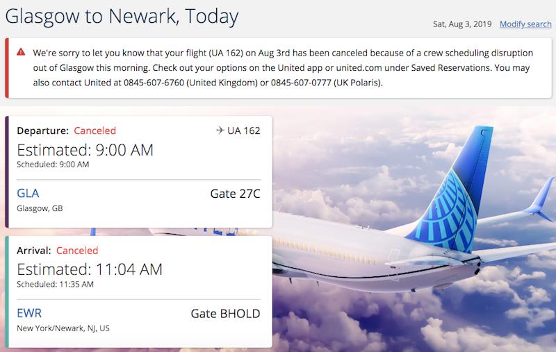Пилоты United Airline напились и не повели самолет в Нью-Йорк, так как были арестованы в Глазго
