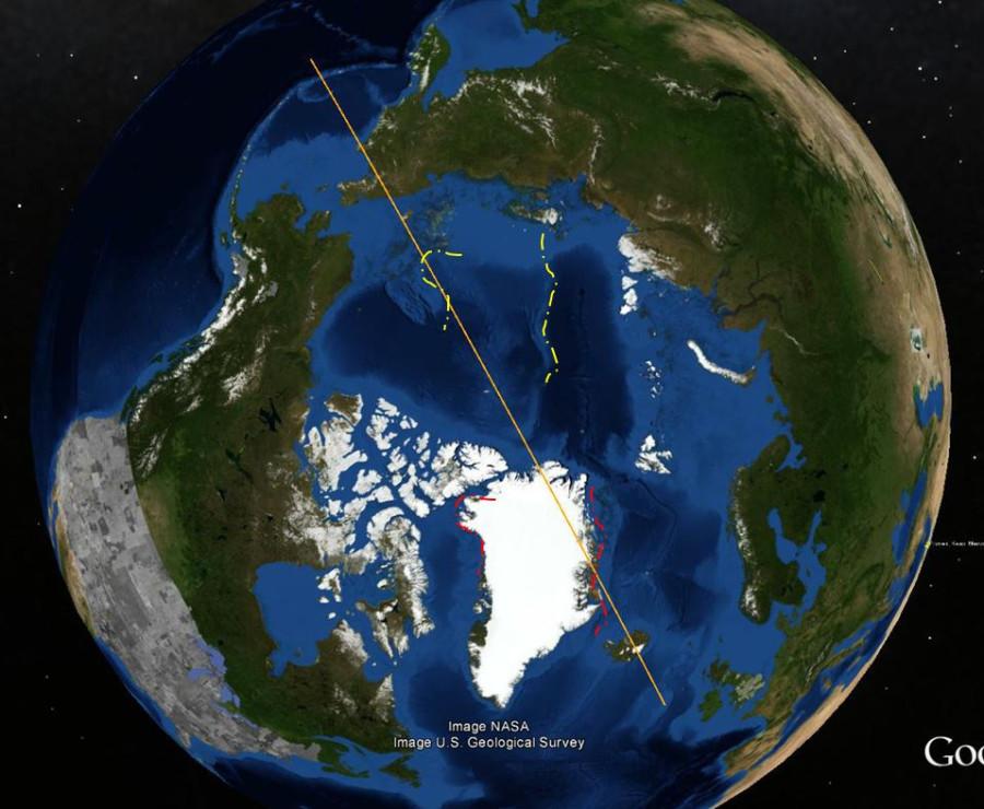 Контуры Гренландии со сдвигом