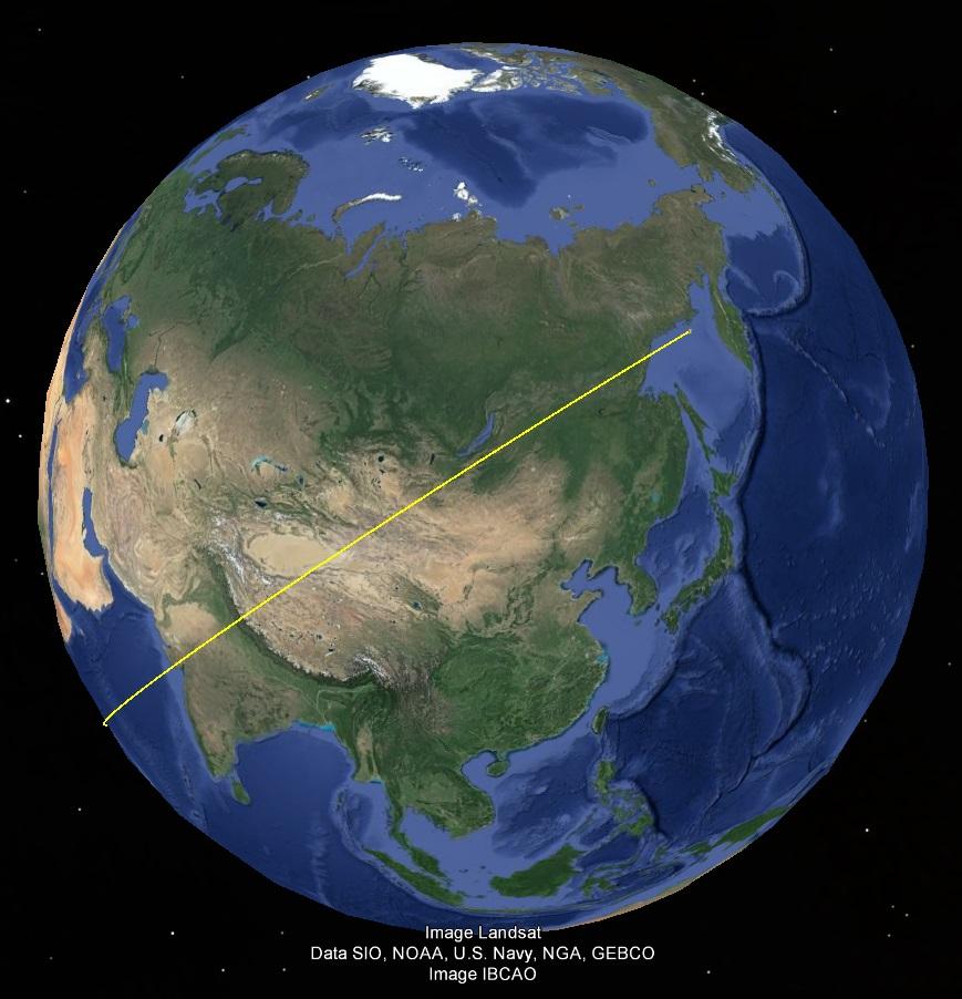 Направление смещения Тибета к южноамериканскому пробою