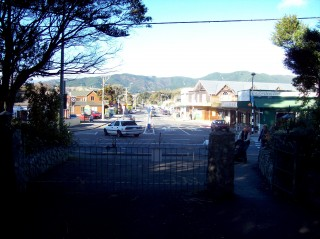 Raumati Beach as viewed from the main entrance of Marine Gardens
