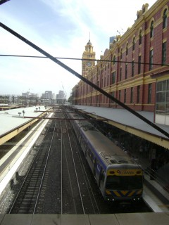 Looking down Flinders Street Station