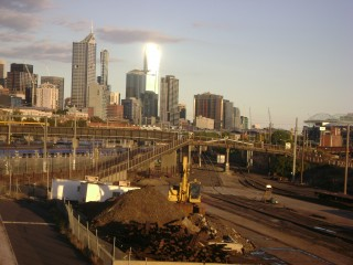Looking over North Melbourne station to the Melbourne CBD