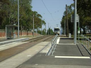 B2 class tram approaching stop