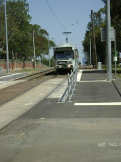 B2 tram passing through stop