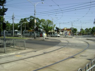 B2 and Z3 trams stopped on Flemington Road