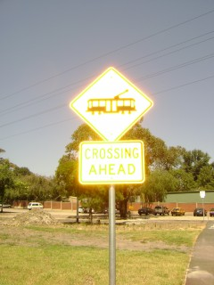 Pedestrian tram crossing sign, Melbourne Zoo